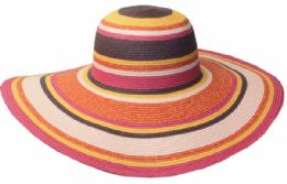 12 Units of Straw Braid Stripe Floppy Hats - Sun Hats