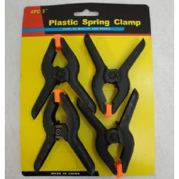 """72 Units of 4 Piece 3"""" Plastic Spring Clamps - Hardware Products"""