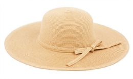 12 Units of Braid Straw Floppy Hats With Self Fabric Band In Natural - Sun Hats