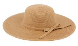 12 Units of Braid Straw Floppy Hats With Self Fabric Band In Light Brown - Sun Hats