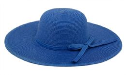 12 Units of Braid Straw Floppy Hats With Self Fabric Band In Royal - Sun Hats