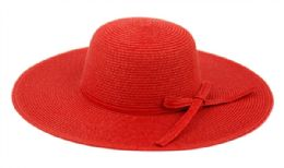 12 Units of Braid Straw Floppy Hats With Self Fabric Band In Red - Sun Hats