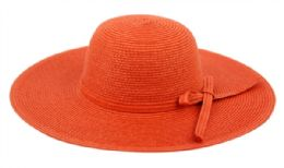 12 Units of Braid Straw Floppy Hats With Self Fabric Band In Orange - Sun Hats