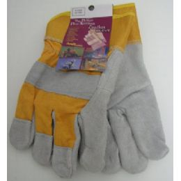 60 Units of Heavy Duty Leather Work GloveS--Gold - Working Gloves