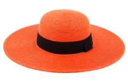 12 Units of Braid Straw Floppy Hats With Grosgrain Band In Orange - Sun Hats