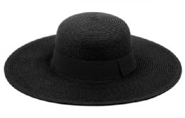 12 Units of Braid Straw Floppy Hats With Grosgrain Band In Black - Sun Hats