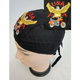 72 Units of Embroidered Skull Cap [eagle With Bike] - Bandanas
