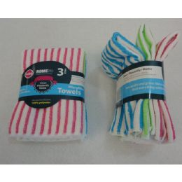 48 Units of 3 Piece Microfiber Towel Set [Striped] - Kitchen Towels