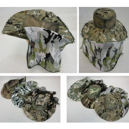 72 Units of Assorted Camo Boonie Hat with Netting (Mesh Sides) - Cowboy & Boonie Hat