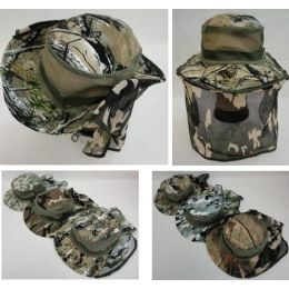 72 Units of Floppy Camo Boonie Hat with Netting (Mesh Sides) - Cowboy & Boonie Hat