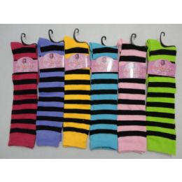 48 Units of 12 Inch Womens Knee High Socks With Stripes - Womens Knee Highs