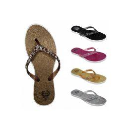 60 Units of Women's Beaded Flip Flops(6-11) - Women's Flip Flops