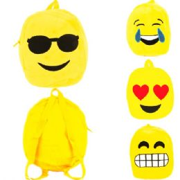 "60 Units of PLUSH EMOJI BACKPACK IN ASSORTED PRINTS (DIMENSIONS: 12 X 9 X 3) - Backpacks 15"" or Less"