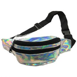 120 Units of Iridescent Silver Adjustable Waist Strap (dimensions: 15 X 5 X 3) - Fanny Pack