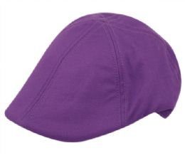 12 Units of Cotton Duckbill Ivy Caps In Purple - Fedoras, Driver Caps & Visor