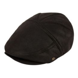 12 Units of Faux Leather Vintage Ivy Caps In Black - Fedoras, Driver Caps & Visor