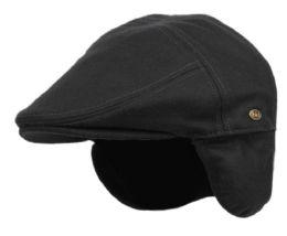 12 Units of Melton Wool Flat Ivy Caps With Earmuff In Black - Fedoras, Driver Caps & Visor