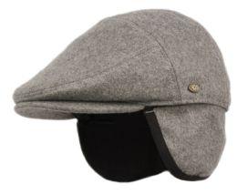 12 Units of Melton Wool Flat Ivy Caps With Earmuff In Charcoal - Fedoras, Driver Caps & Visor