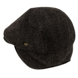 12 Units of Herringbone Wool Flat Ivy Caps With Earmuff In Black - Fedoras, Driver Caps & Visor