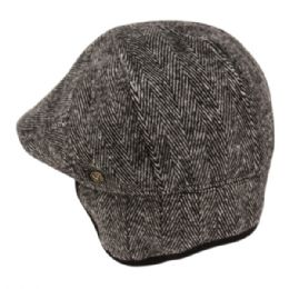 12 Units of Herringbone Wool Flat Ivy Caps With Earmuff In Grey - Fedoras, Driver Caps & Visor