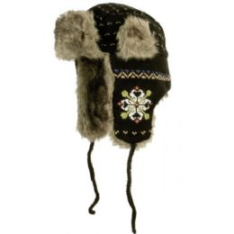 24 Units of Intarsia Multi Yarn Knit Faux Fur Trooper - Fashion Winter Hats