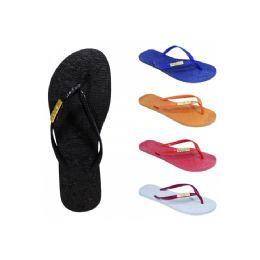 60 Units of Women's Solid Color Flip Flop - Women's Flip Flops