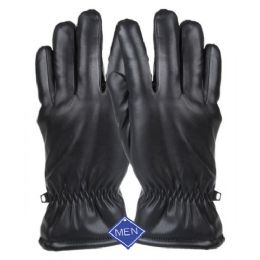 12 Units of MEN'S FAUX LEATHER GLOVE - Leather Gloves
