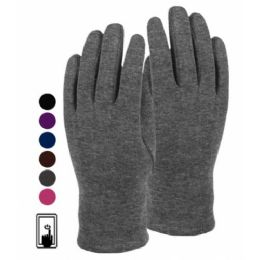 24 Units of LADIES JERSEY TOUCH SCREEN GLOVE ASSORTED COLOR - Conductive Texting Gloves