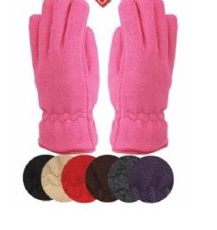 24 Units of Ladies Thermal Fleece Glove Assorted Color - Fleece Gloves