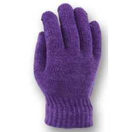 48 Units of LADIES KNIT CHENILLE GLOVE - Knitted Stretch Gloves