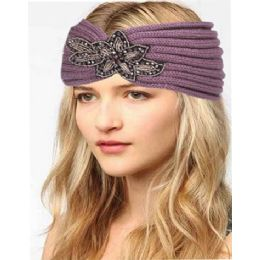12 Units of Fashion Knit Headband With Sequence Flower Trim - Head Wraps