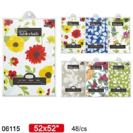 """36 Units of flannel tablecloth 52x52"""" Assorted Floral - Table Cloth"""