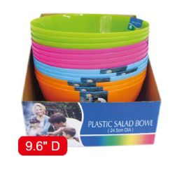 "48 Units of 9.6""plastic bowl Assorted Color - Plastic Bowls and Plates"