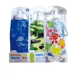 144 Units of Foldable water bag Assorted Styles - Drinking Water Bottle