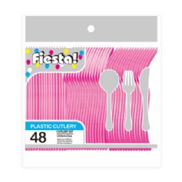 96 Units of Forty Eight Count Cutlery Fuschia - Disposable Cutlery