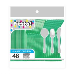 96 Units of Forty Eight Count Cutlery Green - Disposable Cutlery