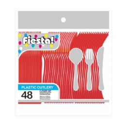 96 Units of Forty Eight Cunt Red Cutlery - Valentine Decorations