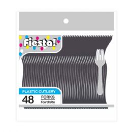 96 Units of Forty Eight Count Fork Black - Disposable Cutlery