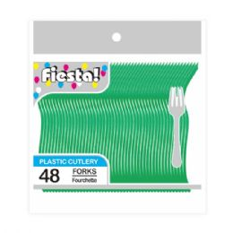96 Units of Forty Eight Count Fork Green - Disposable Cutlery