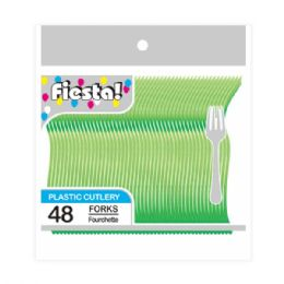 96 Units of Forty Eight Count Fork Lime Green - Disposable Cutlery