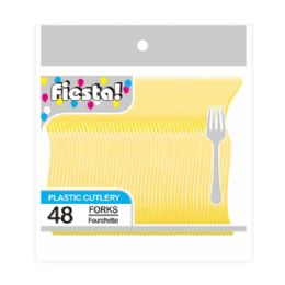 96 Units of Forty Eight Count Fork Yellow - Disposable Cutlery