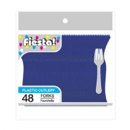 96 Units of Forty Eight Count Fork Dark Blue - Disposable Cutlery