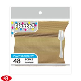 96 Units of Forty Eight Count Premium Fork Gold - Disposable Cutlery