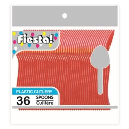 96 Units of Thirty Six Count Spoon Red - Disposable Cutlery