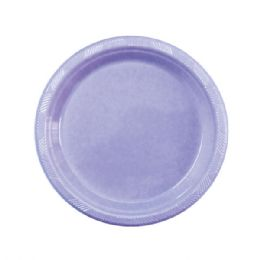 72 Units of Seven Inch Fifteen Count Plastic Plate Purple - Party Paper Goods