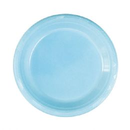 72 Units of Nine Inch Ten Count Plastic Plate Baby Blue - Party Paper Goods
