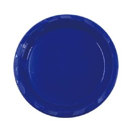 72 Units of Nine Inch Ten Count Plastic Plate Dark Blue - Party Paper Goods