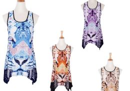 60 Units of Women's Animal Print Loose Casual Flowy Tunic Tank Top - Womens Fashion Tops