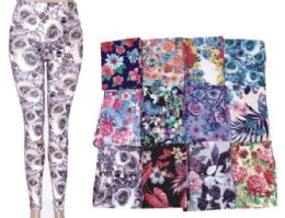 72 Units of Womens Fashion Legging Assorted Styles And Size Polyester Lycra Blend - Womens Leggings