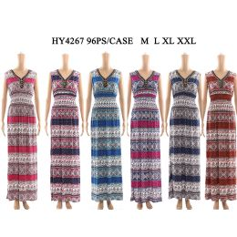 48 Units of Womens Fashion Long Summer Dress In Striped Pattern V Neck Assorted Color And Size - Womens Sundresses & Fashion